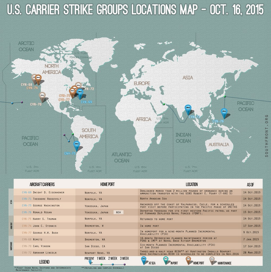 For A Full Size High Resolution Map Please Go To Http Southfront Org U S Carrier Strike Groups Locations Map Oct 16 2015